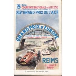 Grand Prix d'Europe Reims 5 juillet 1959 Racing Programme